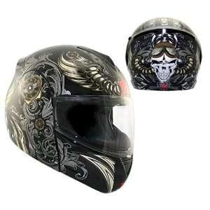 Advanced Hawk Aviator Skull Dual Visor Full Face Motorcycle Helmet