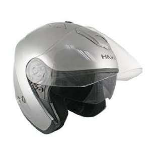 Hawk Silver Dual Visor Open Face Motorcycle Helmet Sz 2XL