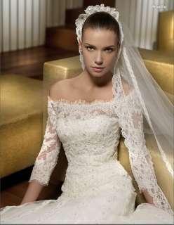 wedding dress party gown A line long sleeve zipper Size custom