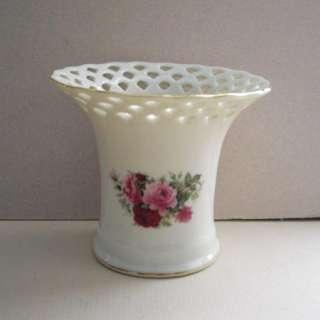 Formalities Baum Bros Pink Roses Flowers Pierced Edge Mini Vase