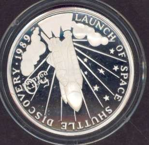 MARSHALL ISLANDS $50 SPACE SILVER 1 OUNCE COIN LAUNCH OF SPACE SHUTTLE