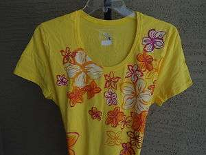 NEW WOMENS JUST MY SIZE GRAPHIC TEE LIME YELLOW WITH GLITZY FLOWERS 5X