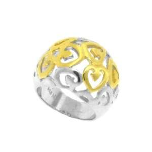 Sterling Silver 925 & Gold Plated Lattice Heart Ring, 7