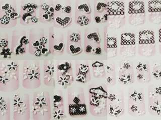 8x 3D Black White Nail Art Stickers/Decals Manicure 0MO