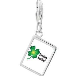 Sterling Silver Feeling Lucky Irish Clover Photo Rectangle Frame Charm