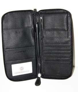 GIANI BERNINI Lg Black Leather TRAVEL ORGANIZER WALLET