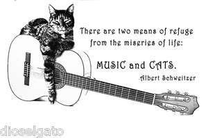 CAT and GUITAR Lovers T Shirt MUSIC & CATS Albert Schweitzer Quote