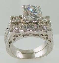 14k White Gold 925 Antique Estate Style Wedding Engagement Ring Set