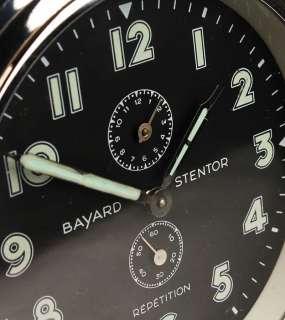 FRENCH ART DECO MACHINE AGE BAYARD ALARM CLOCK CHROME BLACK DIAL