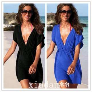 Women Lady Sexy Deep V neck Beach Swimwear Bikini Stretchy Cover Up