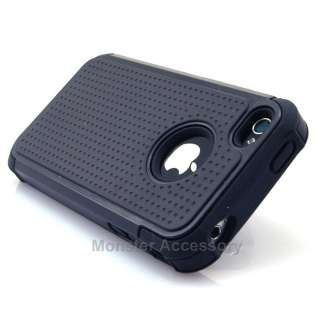 Black X Shield Dual Layer Hard Case Gel Cover For Apple iPhone 4 4S