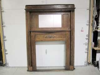 Antique Dark 1/4 Cut Oak Fireplace Mantle w Mirror, Shelf & Fluted