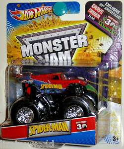 SPIDERMAN Hot Wheels 2012 Monster Jam GRAVE DIGGER 30th Anniverary