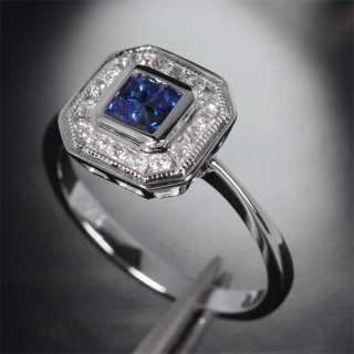 Cut SAPPHIRE & DIAMOND  14K WHITE GOLD Invisible Engagement Halo RING