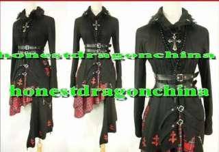 Gothic Lolita Punk Cosplay Costume Black Coat skirt 003
