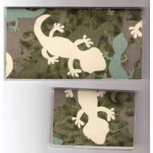 Checkbook Cover Debit Set Camo Camouflage Gecko