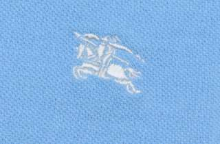 AUTHENTIC BURBERRY MENS T SHIRT POLO LIGHT BLUE GREEN SIZE SMALL SHORT