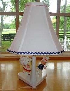Boy~Girl~Red~Blue~Wood~Wooden~Nursery Originals~Baby~Child~Lamp~Light
