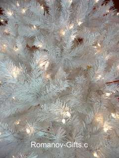 WHITE Slim Alaska Christmas Tree 7 Foot Pre Lited Clear, hinged