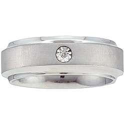 10k Gold and Stainless Steel Mens Diamond Ring (IJ, I2 I3