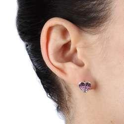La Preciosa Sterling Silver Crystal Heart Stud Earrings