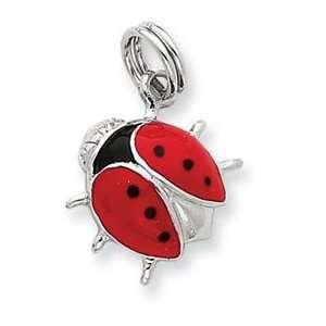 Sterling Silver Enamel Ladybug Charm Jewelry