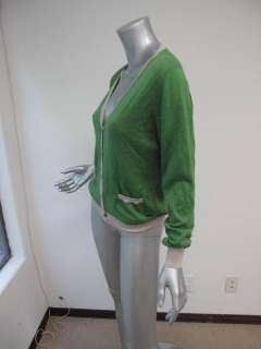 Etro Green/Gray Long Sleeve Button Down Cashmere Cardigan 44