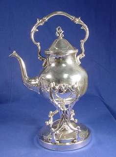Old/Heavy Silver Plated On Copper Hot Water Kettle W/Stand