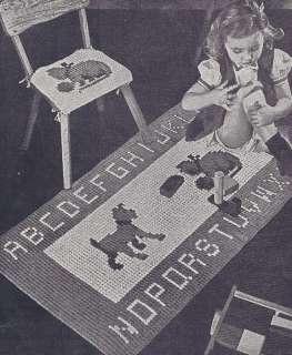 Vintage Crochet PATTERN Alphabet Dog Cat Rug Motif Mat