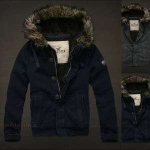 Abercrombie Mens Warm Jacket Fleece Coat Hoodie Sherpa Fur Hood