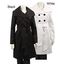 London Fog Womens Faux Silk Trench Coat