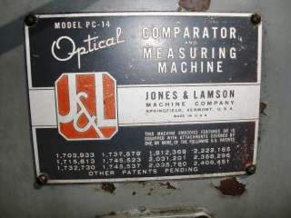 Jones & Lamson 14 Optical Comparator Model PC 14