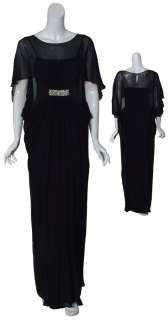 TERI JON Flowing Black Silk Draped Evening Gown Dress 4 NEW