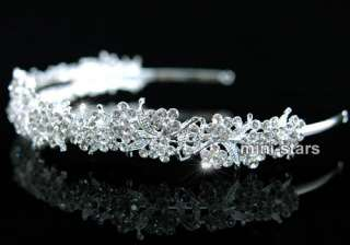 Bridal Wedding Sparkling Flower Crystal Headband Tiara T1289