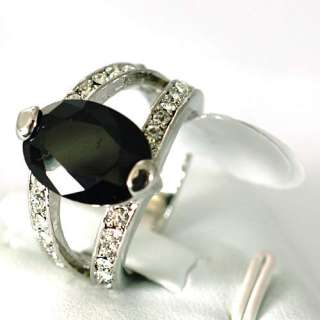 Size 6.5  Black Oval Gemstone 10K GP Diamante Ring Craft