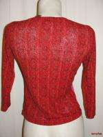RELAXED Red Black BOHO Bohemian 3/4 Sleeve Shirt Top Size S Small
