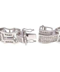 Mens 14k White Gold & 10 3/5ct TW Diamond Bracelet