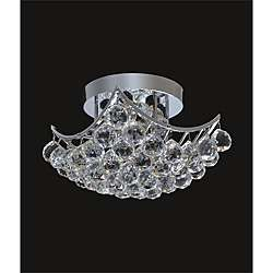 Chrome or Gold 6 light Crystal Ball Flush Mount Chandelier