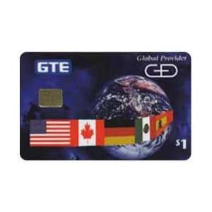 Collectible Phone Card $1. Comp. GTE & G&D Chip   Flags