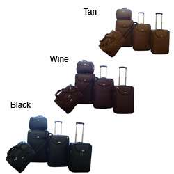 American Flyer Basket Weave 5 piece Luggage Set