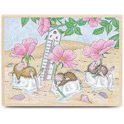 House Mouse Beach Cooler Wood mounted Rubber Stamp