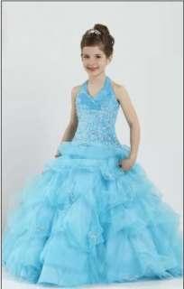 Blue Little Girls*Pageant Party Bridal Flower Girl Dress Wedding