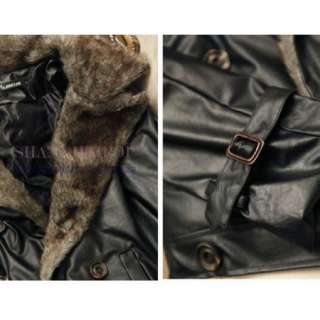 Men Double Breasted Fur Collar Jacket Faux Leather Short Coat Man