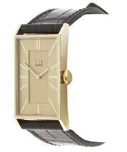 Dunhill Wafer Mens 18 kt. Gold Watch with Black Strap
