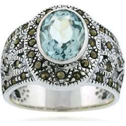Sterling Silver Marcasite and Genuine Blue Topaz Ring