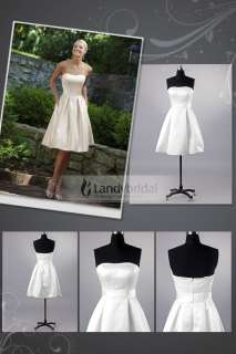 Ivory White Satin Wedding Bridesmaid Dress Bridal Gown Size Custom Hot