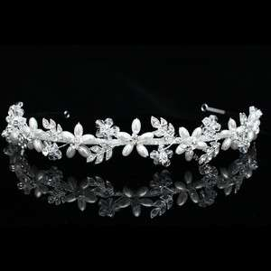 Crystal Pearl Flower Star Bridal Wedding Headband Tiara 6773