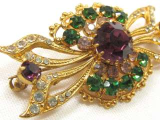 Signed MADE IN AUSTRIA Green Pink Purple Rhinestone BROOCH Pin