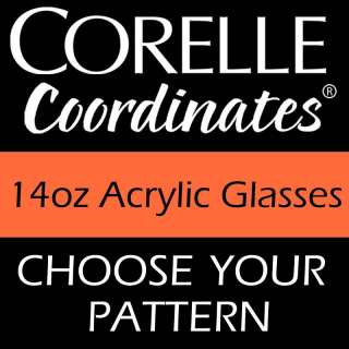 Corelle 14oz Acrylic Glasses TUMBLER Set of 6 NEW