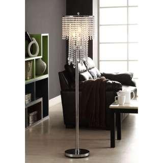 Crystal Rain 3 light Chrome Crystal Floor Lamp